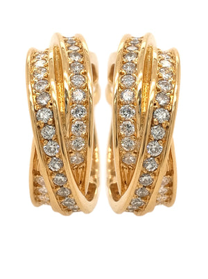 Cartier Trinity Diamond Earrings in 18k Yellow Gold