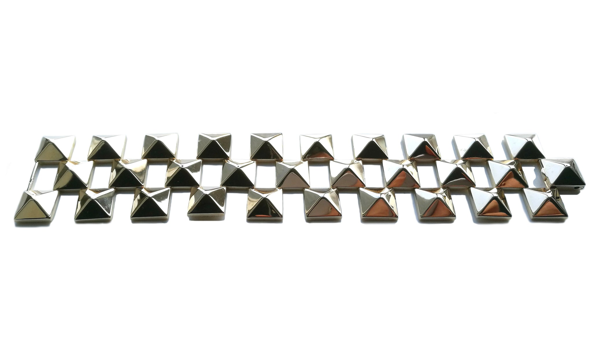 Retro Vintage 1960s Pyramid Tank Bracelet in 14k Yellow Gold