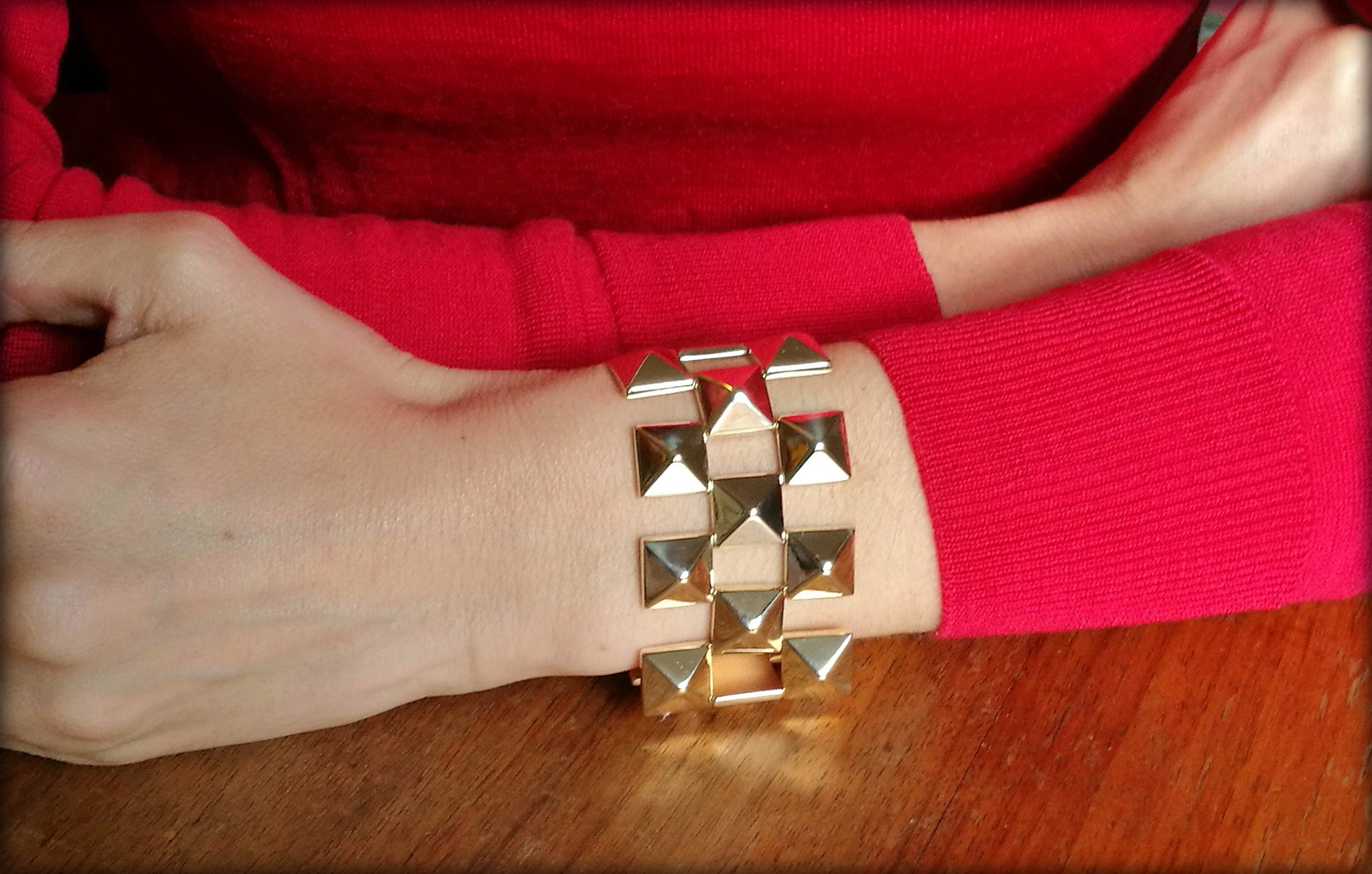 Retro Vintage 1960s Pyramid Tank Bracelet in 14k Yellow Gold on wrist