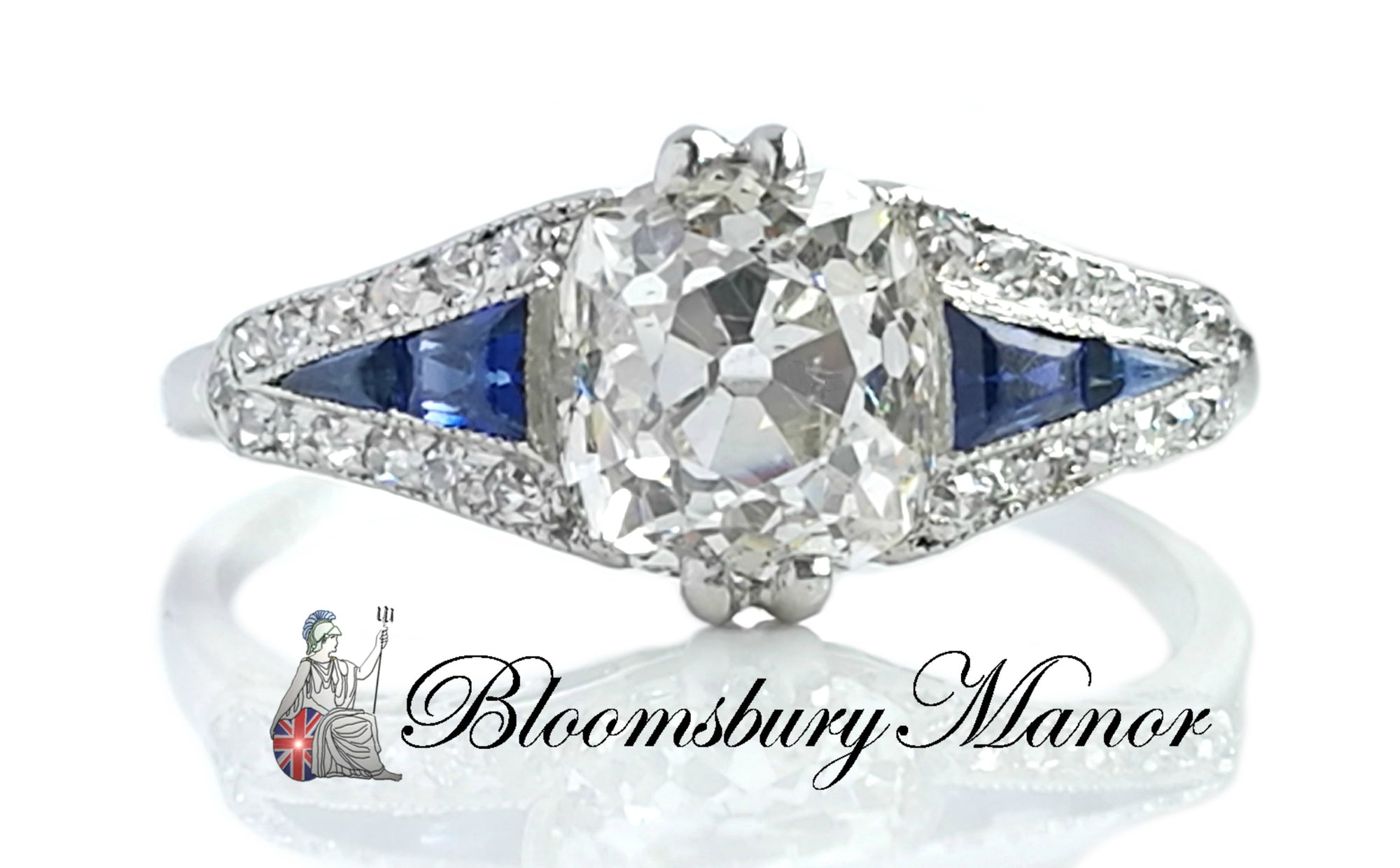 1920s Art Deco 1.60ct Old Cushion Cut Diamond & Sapphire Engagement Ring in Platinum