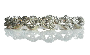 Antique French Victorian 4.50ct Old Cut Diamond Bracelet in Silver & 18k Gold