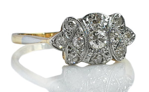 Art Deco Shield 18k Yellow Gold 1930s Old Cut Diamond Ring SZ J 1/2