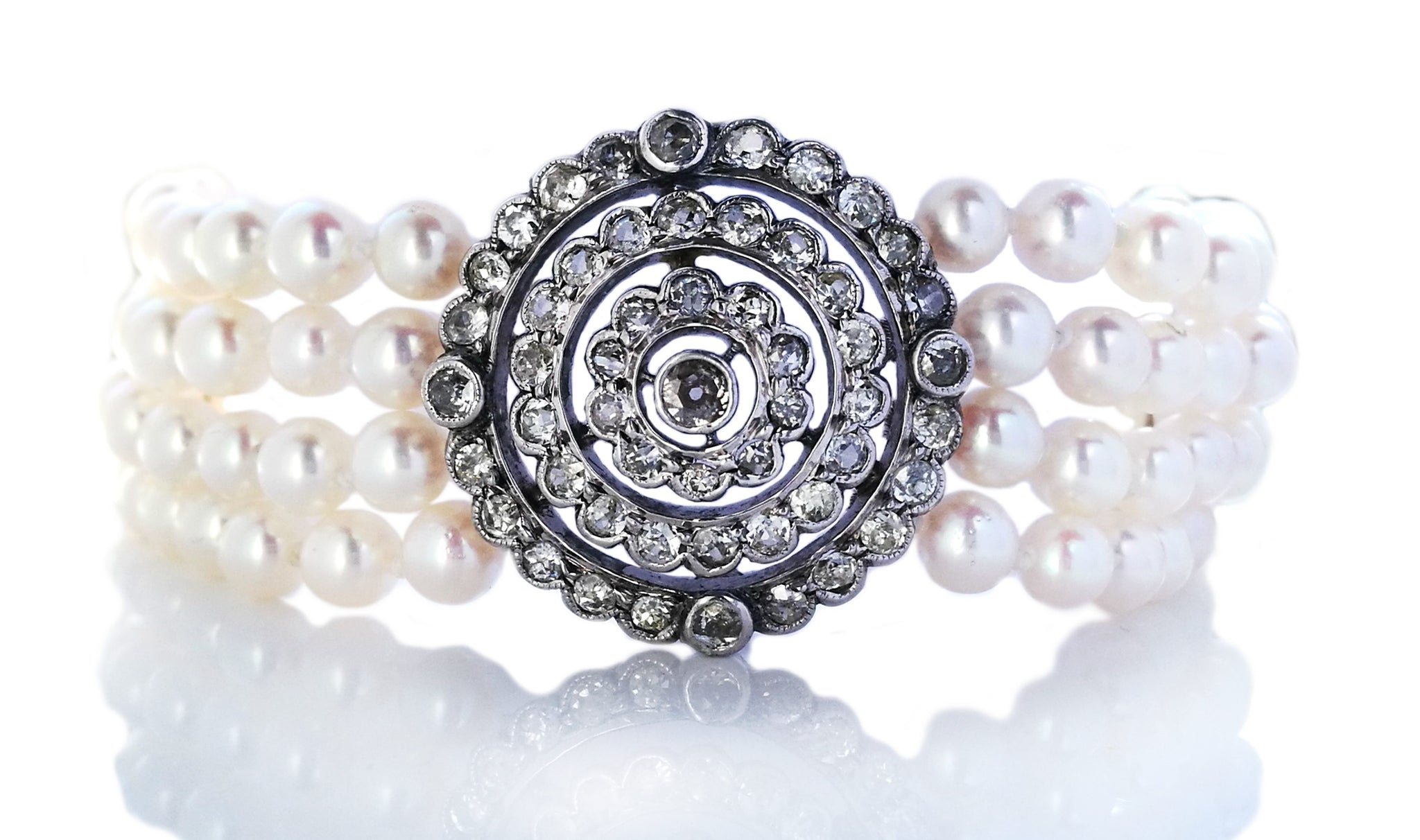 Old Cut Diamond 1.70ct Edwardian/Modern Diamond Cultured Pearl Bracelet
