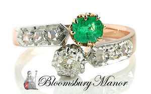 Victorian Antique French Toi et Moi Diamond Emerald .82tcw 18k Gold Engagement Ring