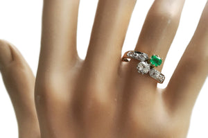 Victorian French Toi et Moi 0.82tcw Diamond & Emerald Engagement Ring in 18k Gold on hand
