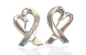 Tiffany & Co. Paloma Picasso Sterling Silver Loving Heart Earrings