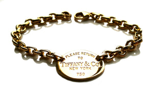 Tiffany & Co 18k Yellow Gold Oval Return to Bracelet 7.25 inches