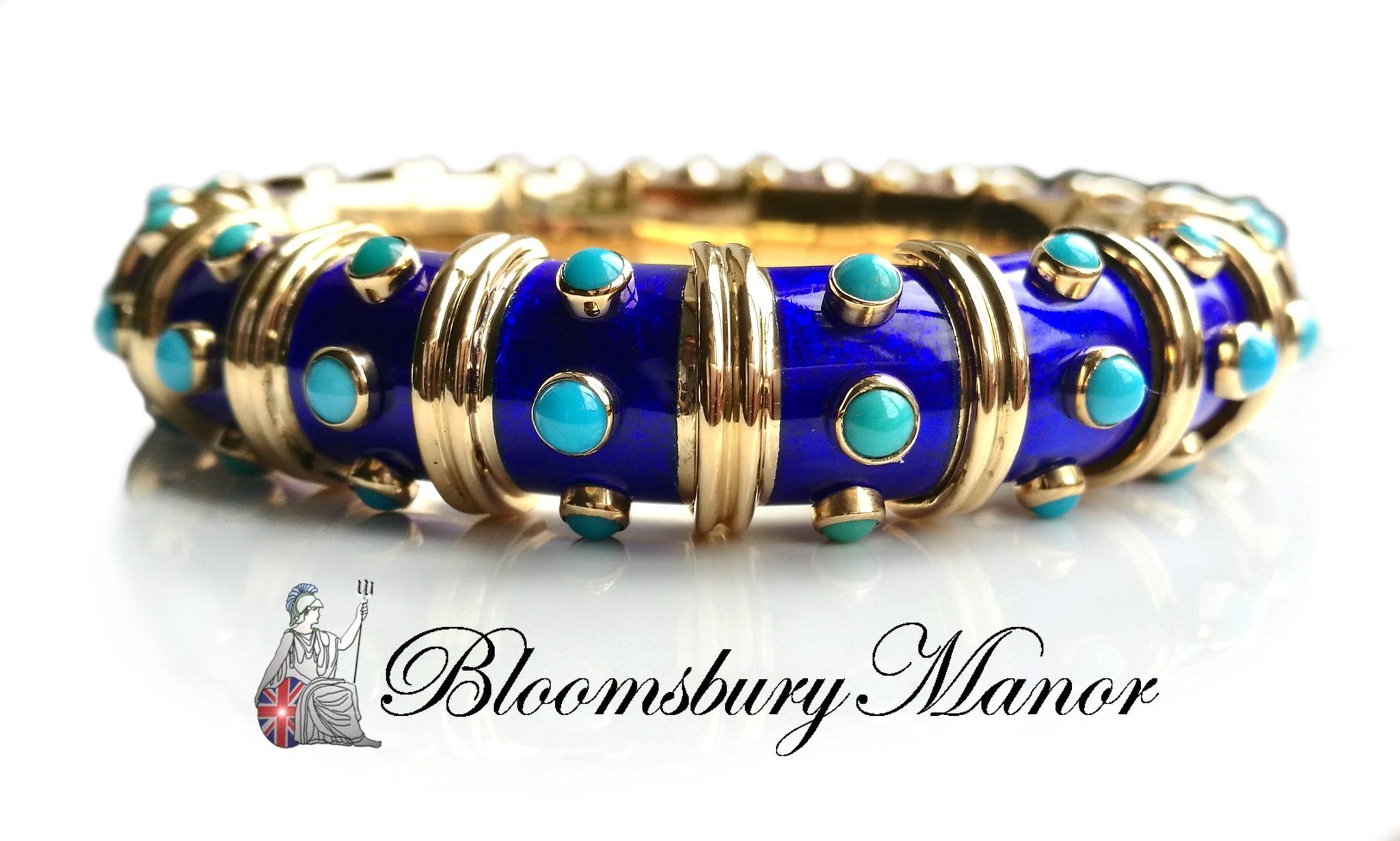 6687b1bca Vintage 1960s Tiffany & Co. Schlumberger Turquoise & Blue Paillonne En -  Bloomsbury Manor Ltd