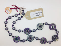 Grey, Purple & Green circle bead necklace