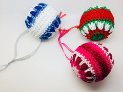 Crocheted Christmas Baubles - Packs of 3