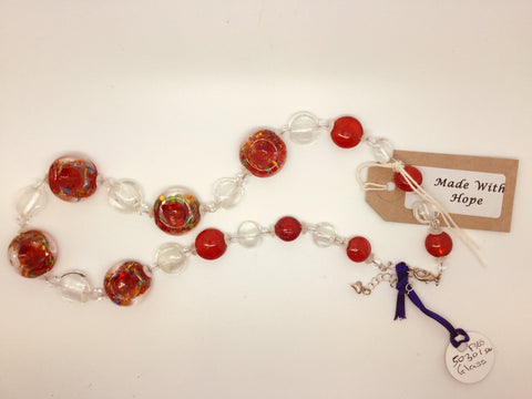 Red & Clear Glass Bead Circle Necklace