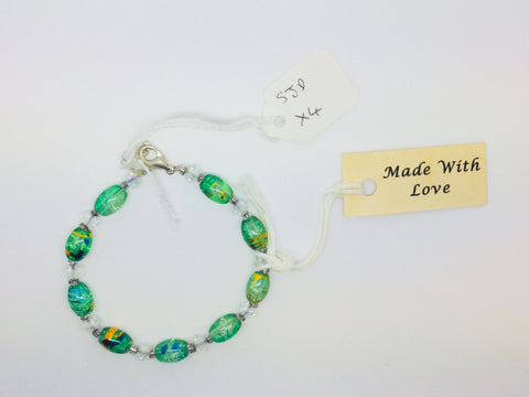 Green and Multi coloured glass beads bracelet