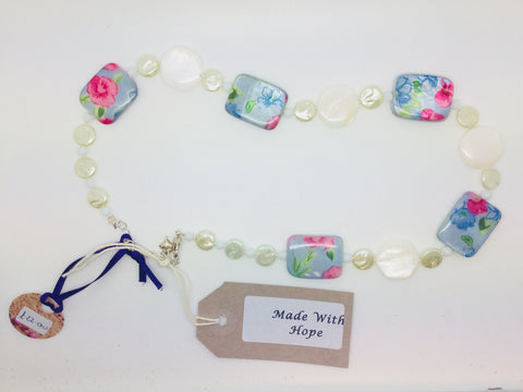 Floral Square Beads with white shell beads necklace