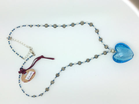 Blue Glass Silver Beads Heart Necklace