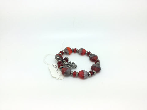 Grey & Red Glass Bracelet With Tiny Metal Beads