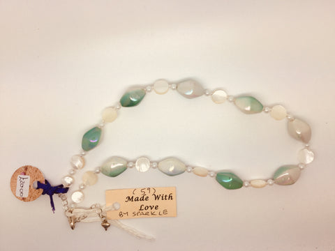 Green & White Acrylic & Shell Necklace