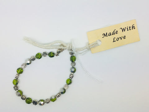 Lime Green & Metal beaded bracelet