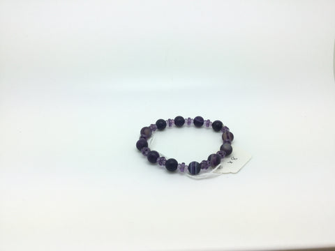 Dark Purple Beaded Glass Bracelet