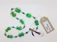 Green & Clear Glass Bead  Circle Necklace
