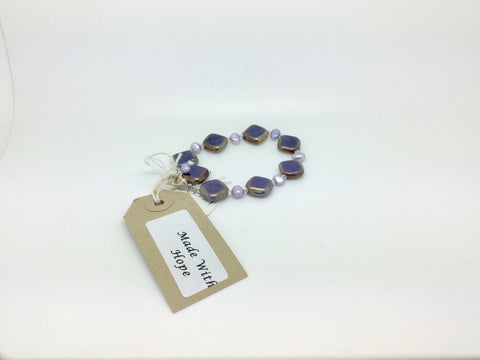 Purple Square Glass Bracelet