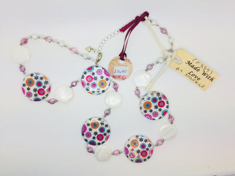 multicoloured circle beads with white beads necklace