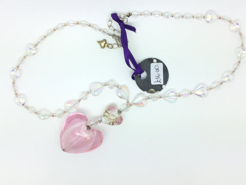 Pink Glass Heart Beaded Necklace