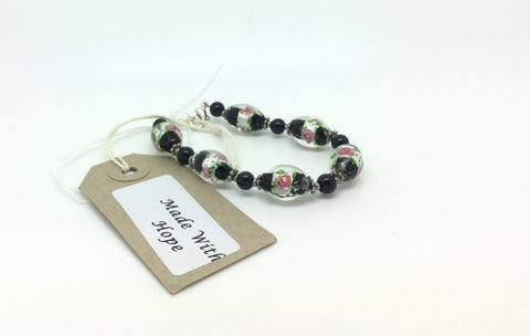 Black Glass Rose Beaded Bracelet