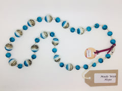 Turquoise, Grey & white glass bead necklace