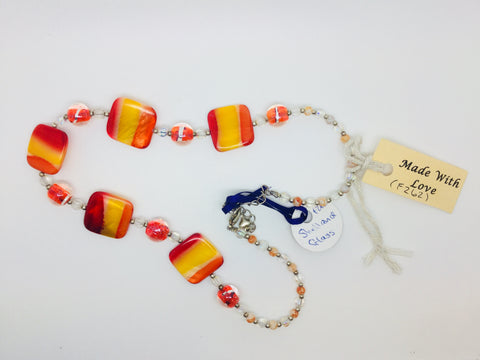 Orange & Red square & round glass necklace