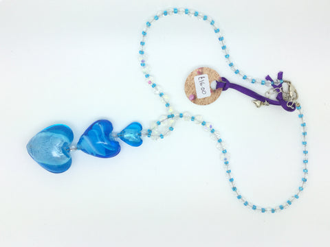 Blue Glass Crystal 3D Three Heart Necklace