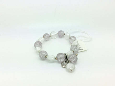 Silver Clear Glass Beaded Bracelet