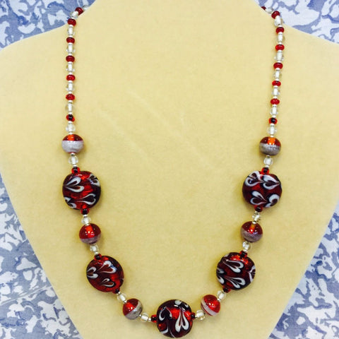 Red Glass White Heart Necklace