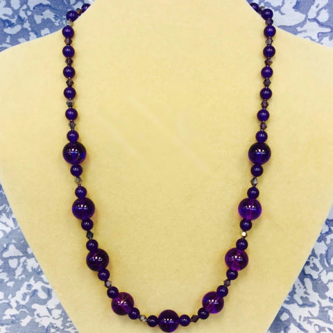 Purple Glass Amethyst Necklace