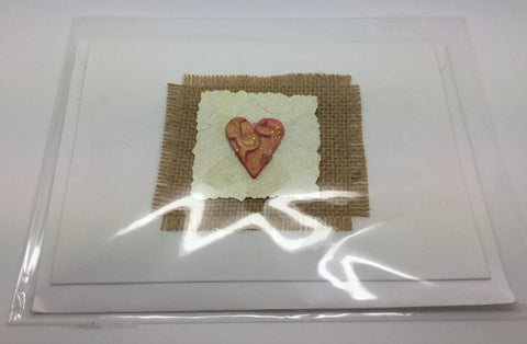 Heart Greetings Card With Brown Fabric Border