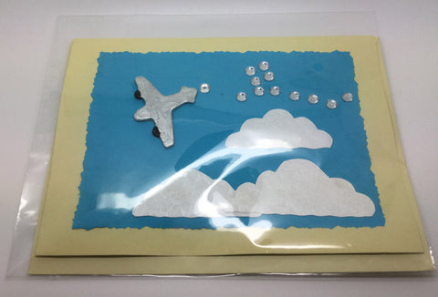 Silver Airplane Greetings Card With Sky Background