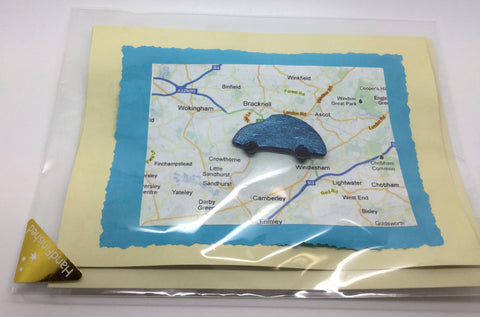 Blue Car Greetings Card With Map Background