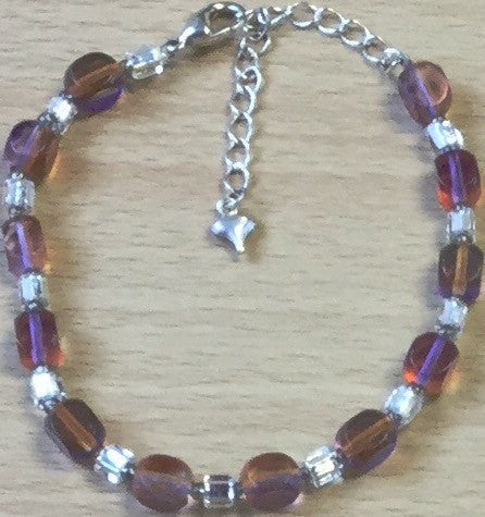 Orange Clear Glass Cubes Bracelet