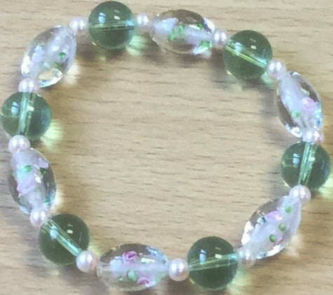 Green Glass Pink Pearl Flower Bracelet