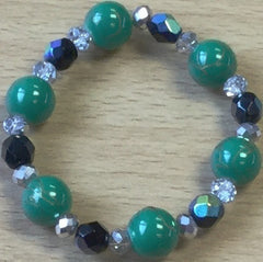 Green Glass Silver Crystal Bracelet