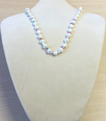 Pink Purple Freshwater Pearl Necklace