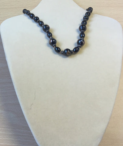 Black Bronze Glitter Glass Necklace