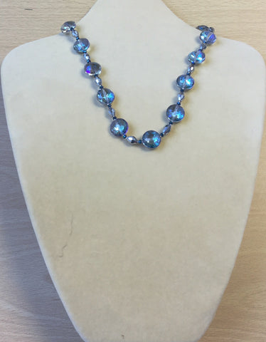 Clear Blue Crystal Circles Necklace