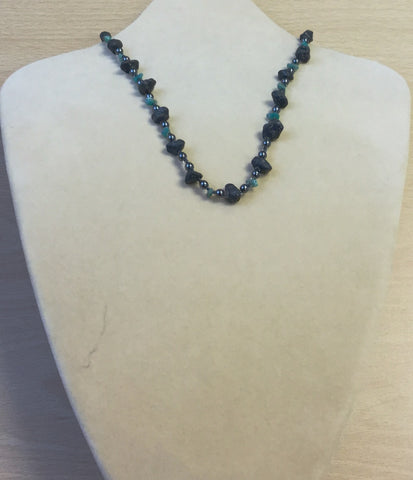 Teal Lava and Gem Chips Necklace