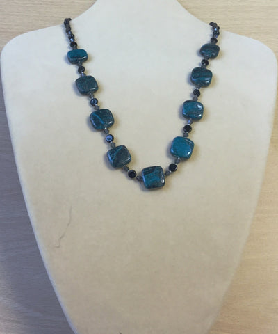 Teal Black Azurite and Crystal Necklace