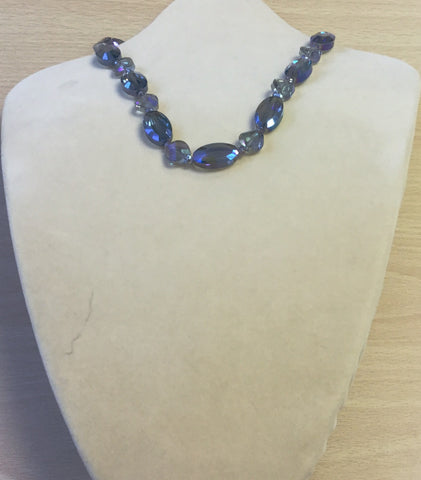 Clear Blue Crystal Ovals Necklace