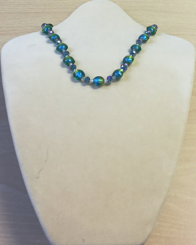 Blue Lime Glass and Crystal Necklace