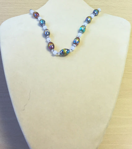 Pink Yellow Glass White Jade Necklace