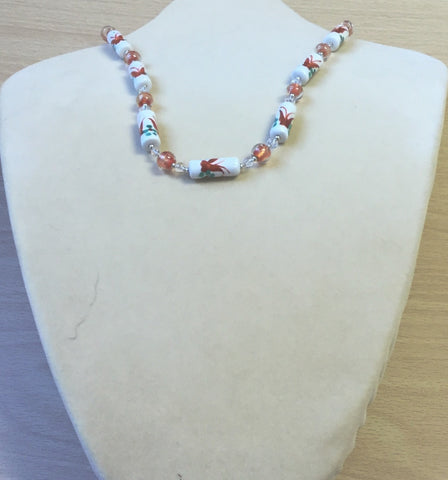 Orange Glass White Ceramic Flower Necklace