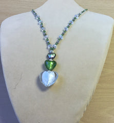 Clear Lime Glass Crystal 3D Heart Necklace