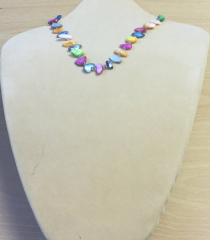 Yellow Green Pastel Shell Chips Necklace